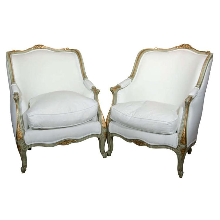 Pair of Louis XV Style Bergeres Stamped Jansen
