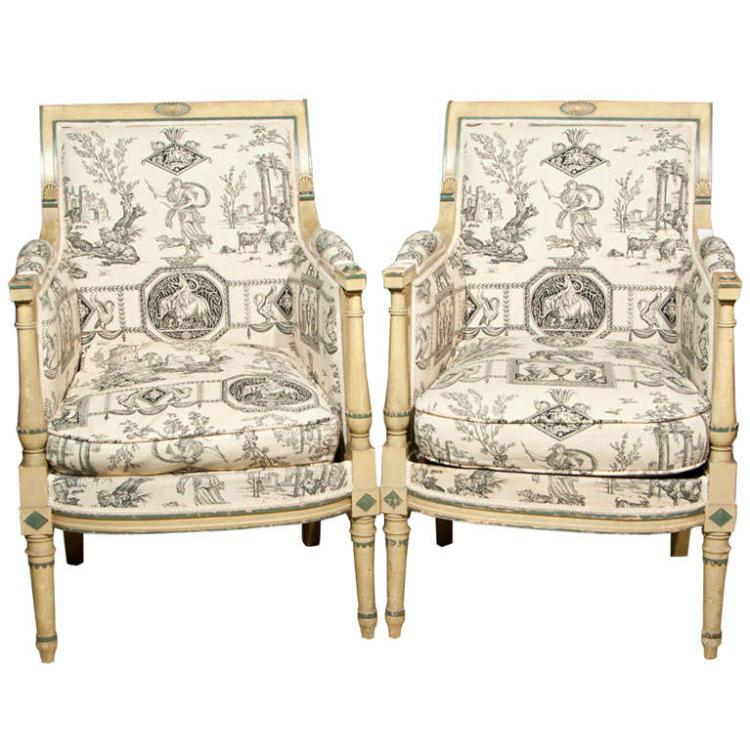 Pair of French Directorie Bergeres by Jansen