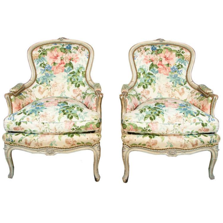 Pair of French Louis XVI Bergere Chairs by Jansen