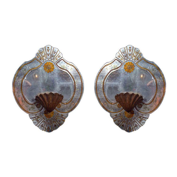 Pair of Eglomise Glass Wall Plaques a by Maison Jansen