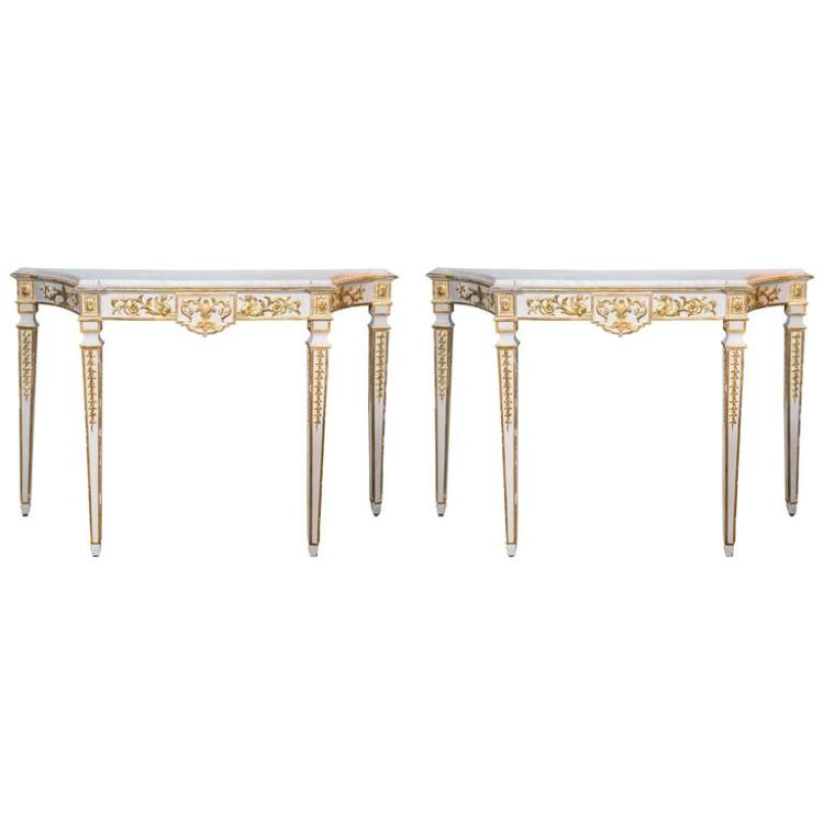 Pair of Italian Neoclassical Style Parcel-Gilt and White Painted Console Tables