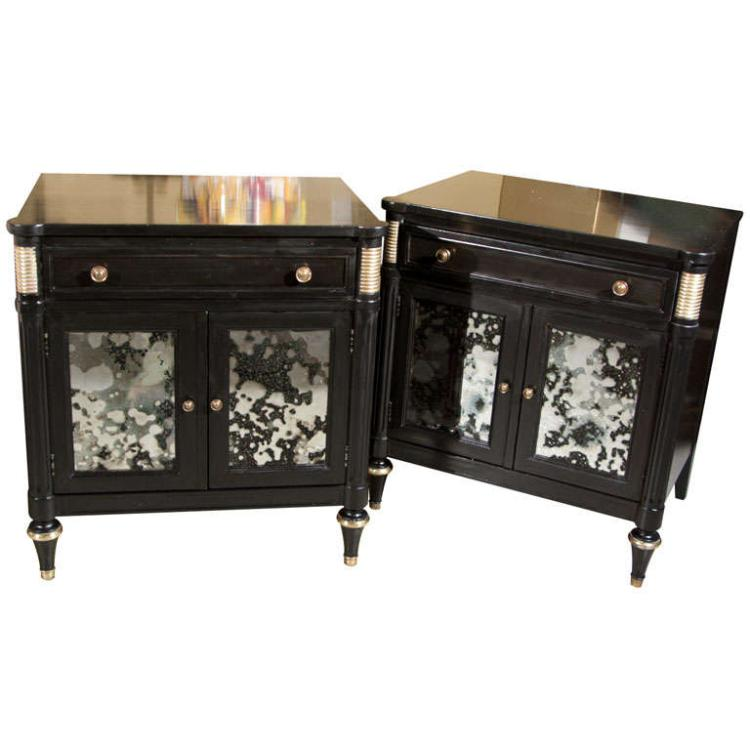 Pair of Ebonized & Mirrored Nightstands Stamped Jansen