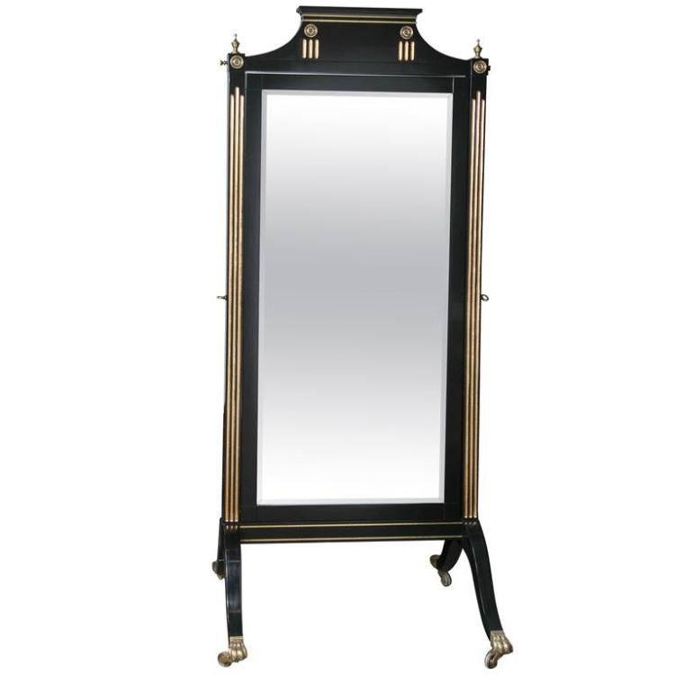 Ebonized and Bronze Mounted Maison Jansen Cheval Mirror