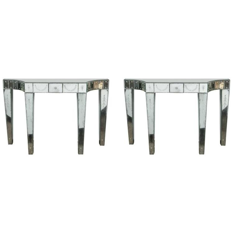 Pair of Etched and Mirrored Hollywood Regency Console Tables