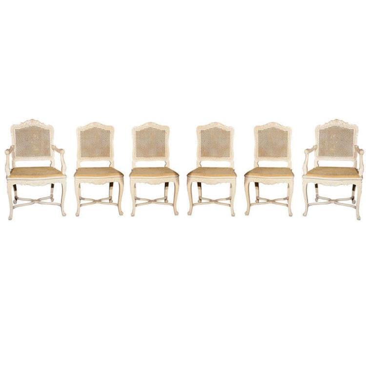 Set of 6 French Louis XV Style Dining Chairs by Jansen