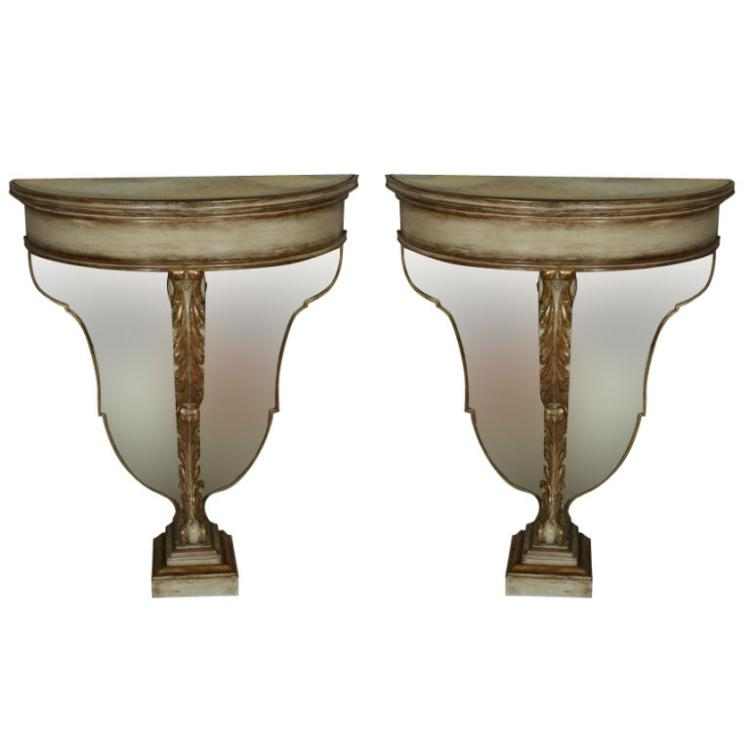 Pair of Maison Jansen Demilune Console Tables