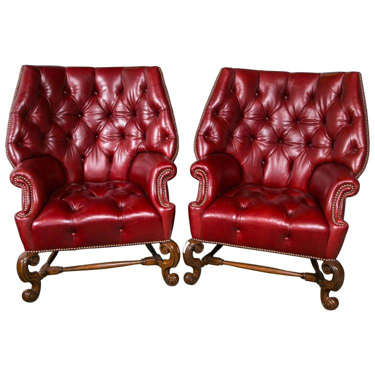 Pair of Oversized Tufted Leather Wingback Chairs