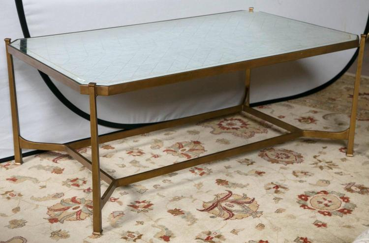 Jonathan Charles Distressed Mirror Top Coffee Table