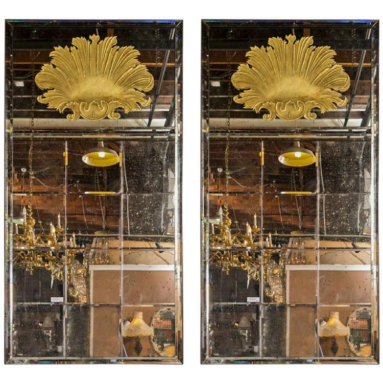Pair of Monumental Venetian Style Mirrors