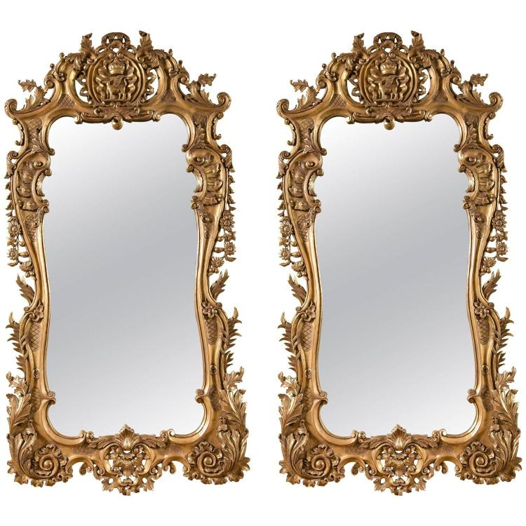 Pair of Monumental Louis XV Style Giltwood Mirrors
