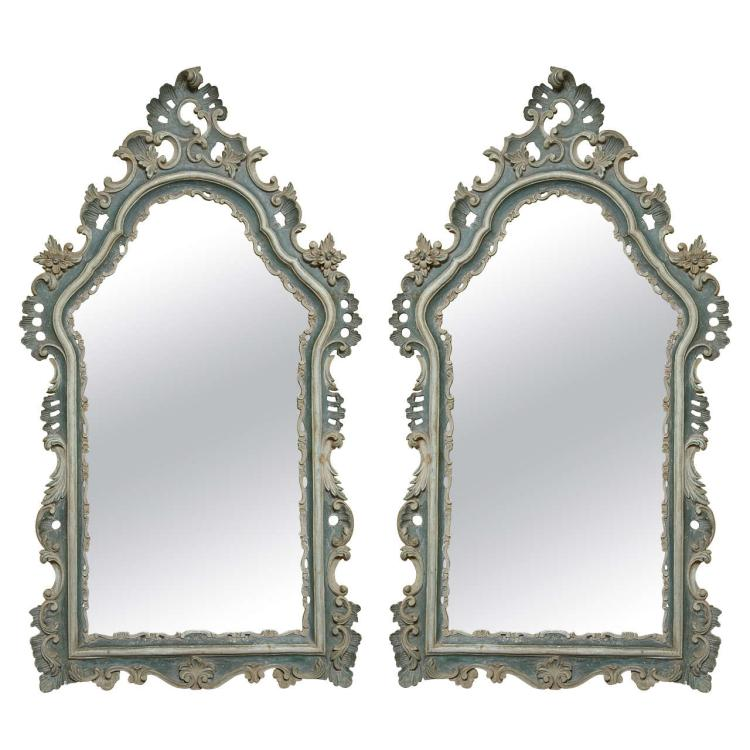 Pair of 19 C Painted French Rococo Style Mirrors