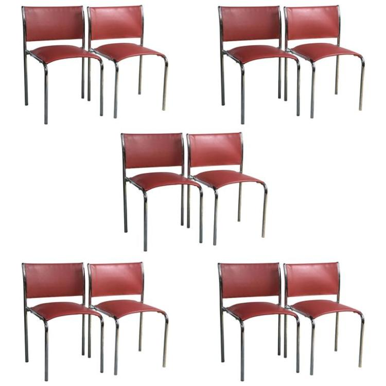 Set of 10 Thonet Chrome & Leather Side Chairs Style of Mies van der Rohe