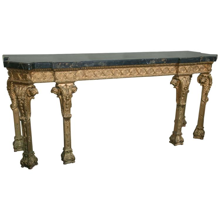 Monumental French Marble-Top Console Sideboard Attributed to Jansen