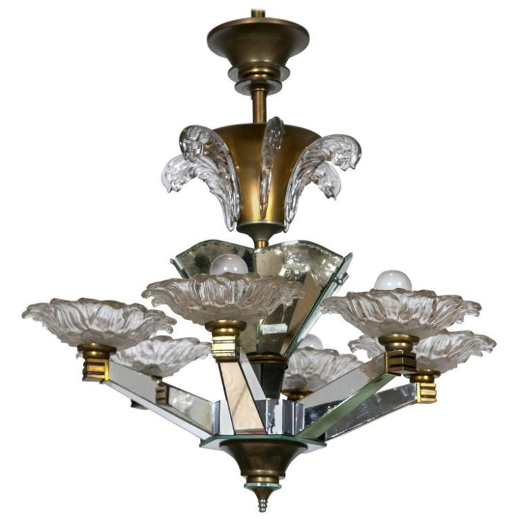 French Art Deco Chandelier Attributed to Maison Jansen Lalique Style Glass