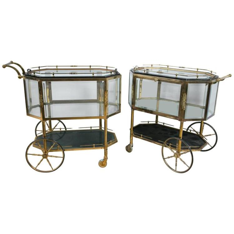 Pair of Bronze Tray Top Showcase Serving Carts