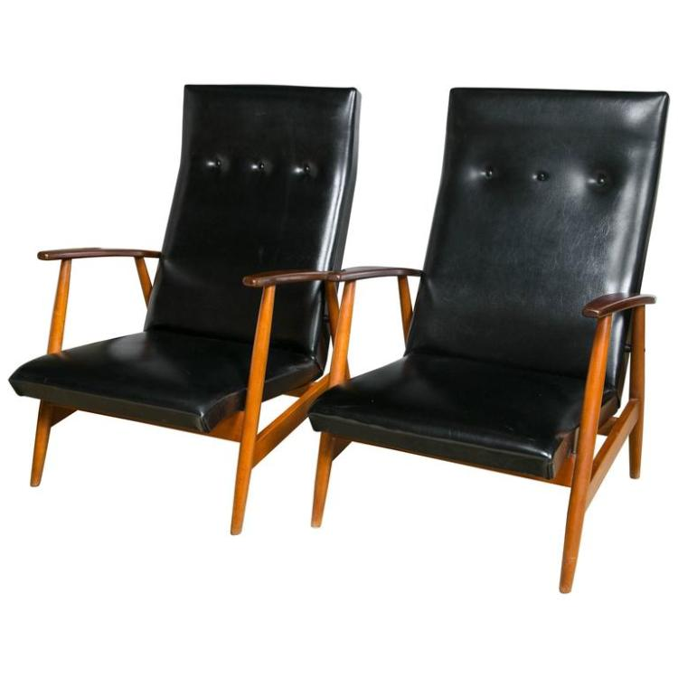 Pair of Scandinavian Teak and Black Lounge Chairs