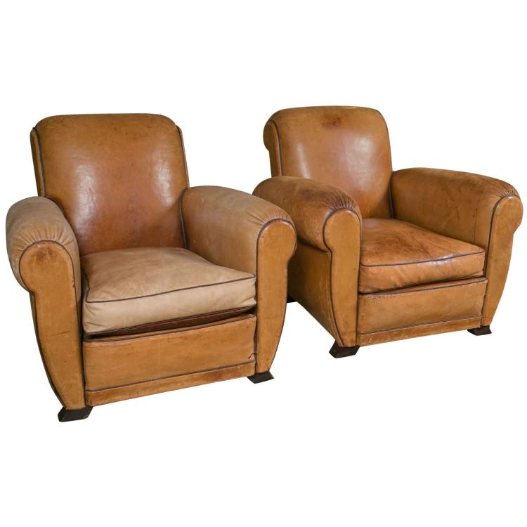 Pair of French Tan Leather Club Chairs