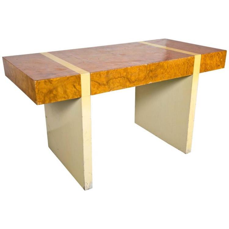 Mid-Century Modern Burl Walnut and Cream Lacquer Desk