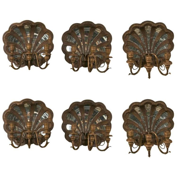 Set of Six Wood Shell and Mirror Wall Sconces