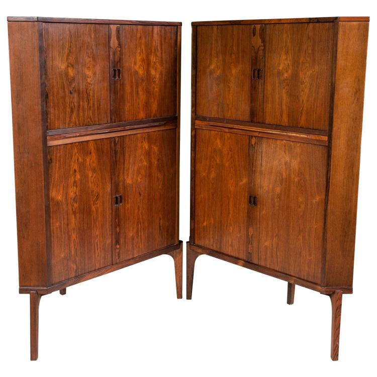 Pair of Mid-Century Modern Danish Rosewood Corner Cabinets or Bars