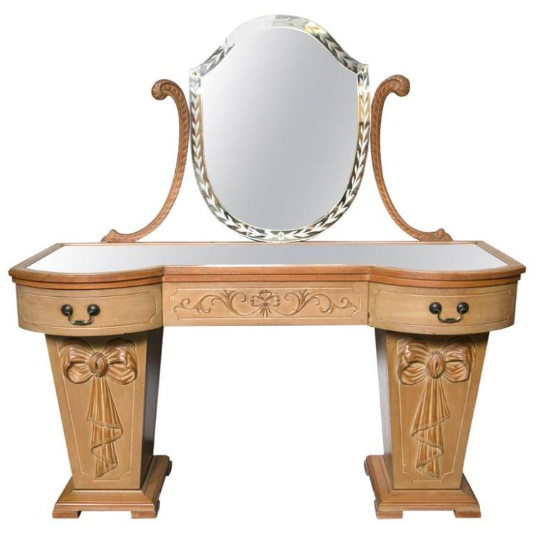 Hollywood Regency Dorothy Draper Style Mirror Top Vanity or Desk
