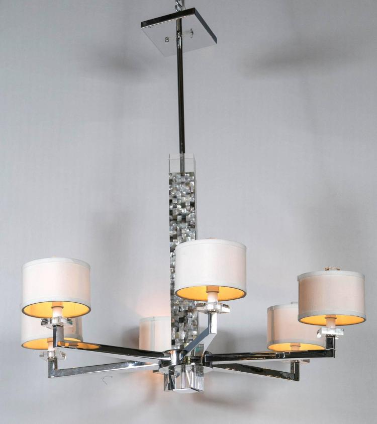 A Mother Of Pearl Micro Mosaic Decorated Chandelier