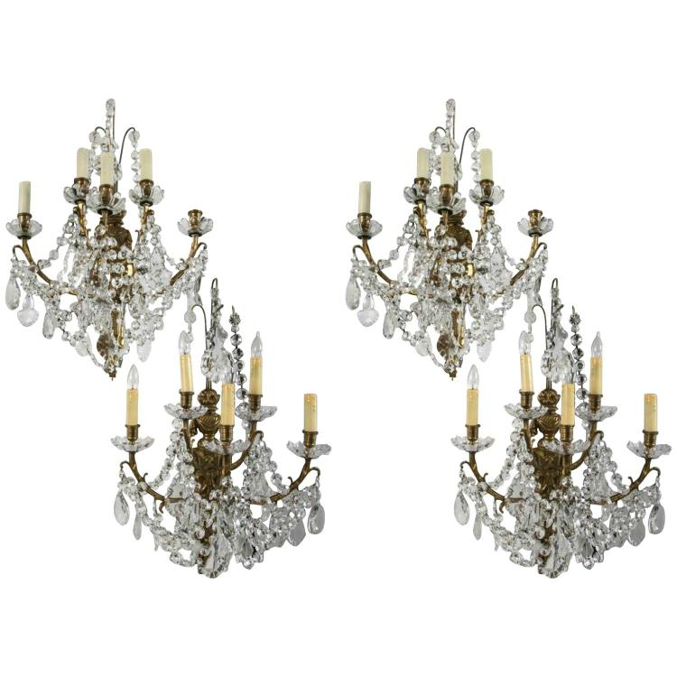 Pair of Antique Cast Bronze and Crystal Prism Wall Sconces