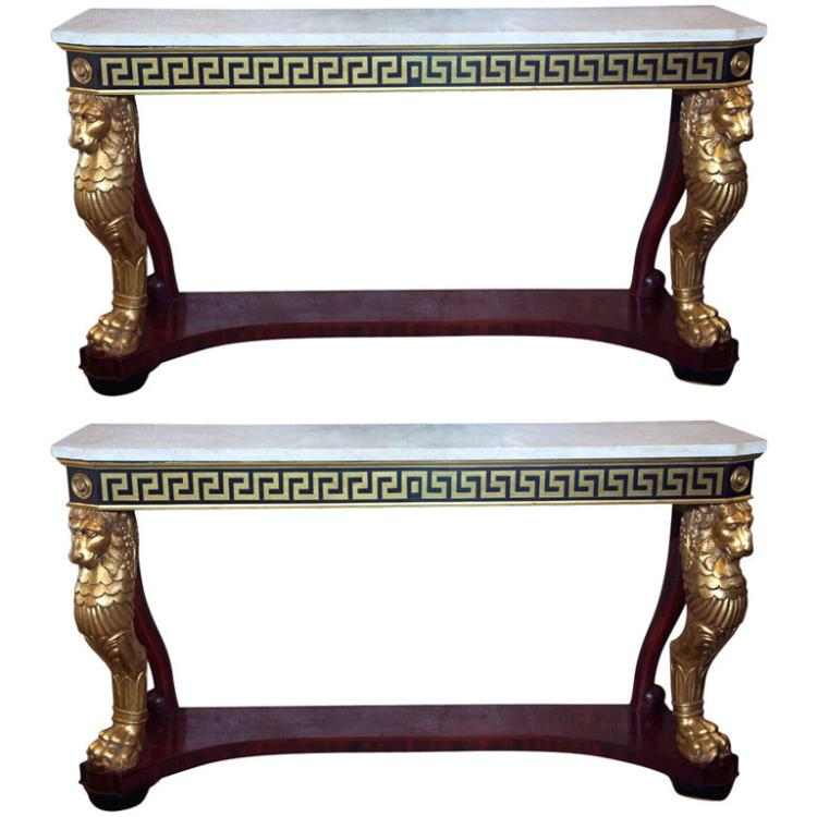 Extraordinary Pair of Neoclassical Consoles by Jansen