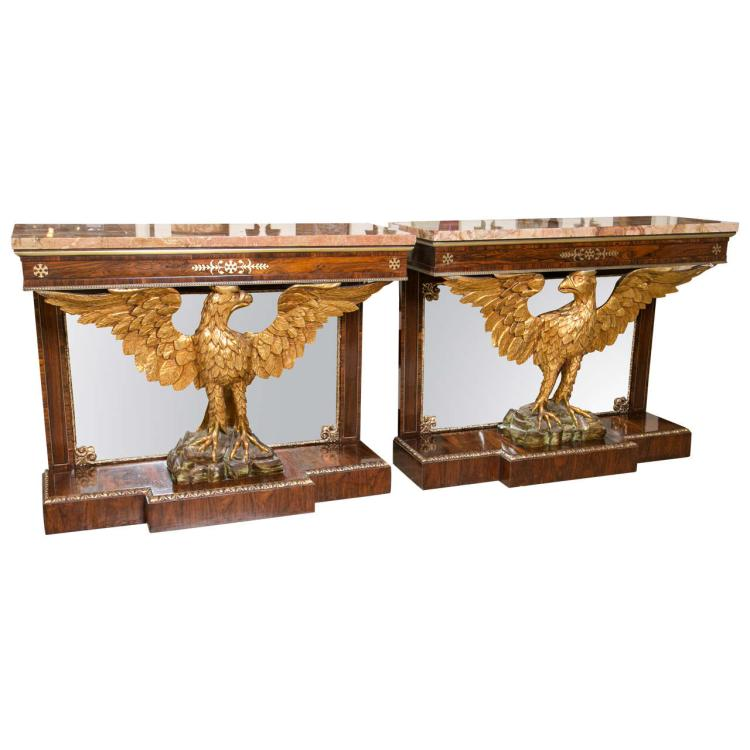 Pair of 19th Century Federal Style Gilt Opposing Eagle Console Tables