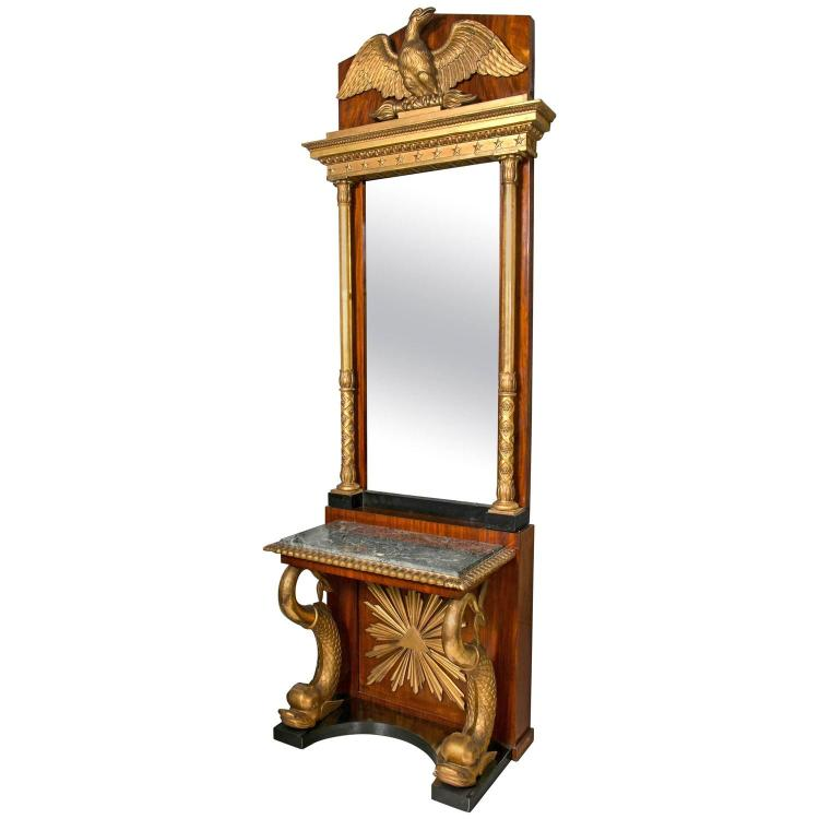 Carved Mahogany & Gilt Wood Swedish Neoclassical Console with Mirror