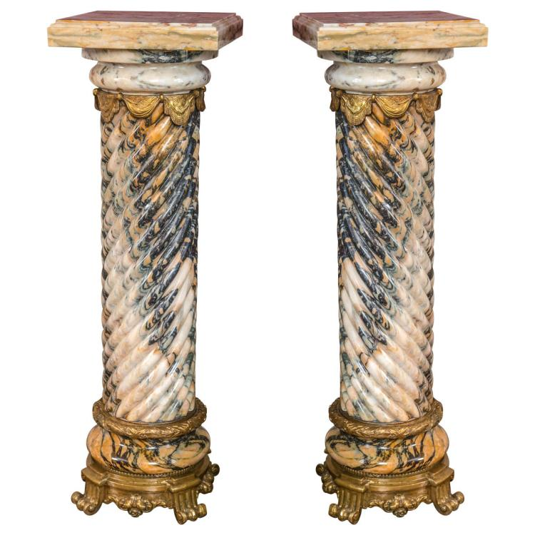 Pair of Palatial Bronze Mounted Twisted Marble Pedestals