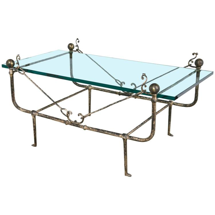 Diego Giacometti Style Glass Top Coffee Low Table