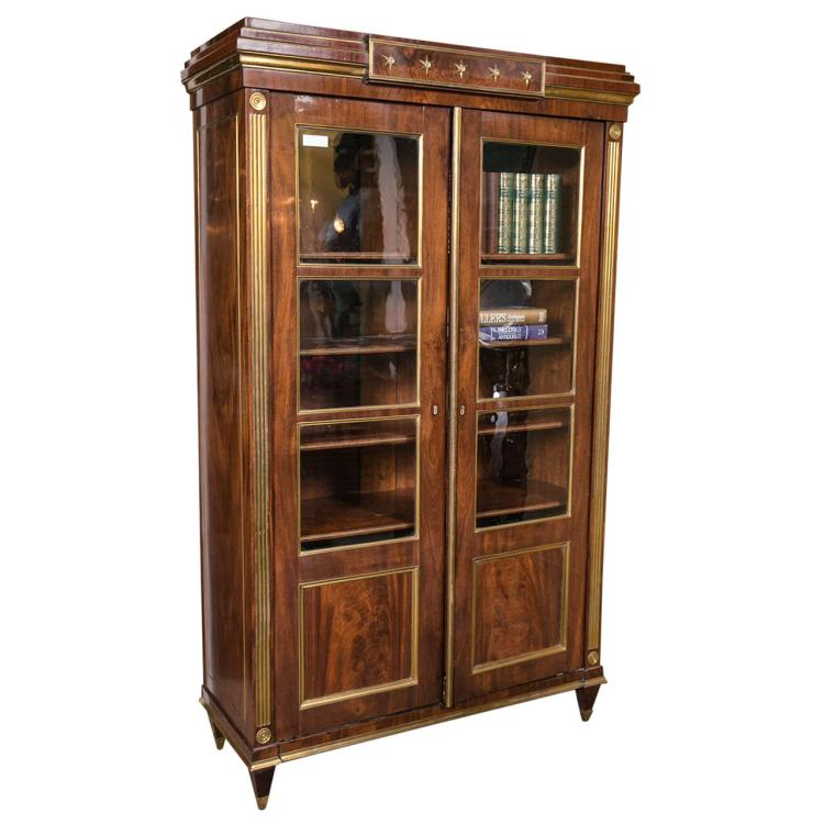 Antique 19th Century Russian Neoclassical Two-Door Bookcase