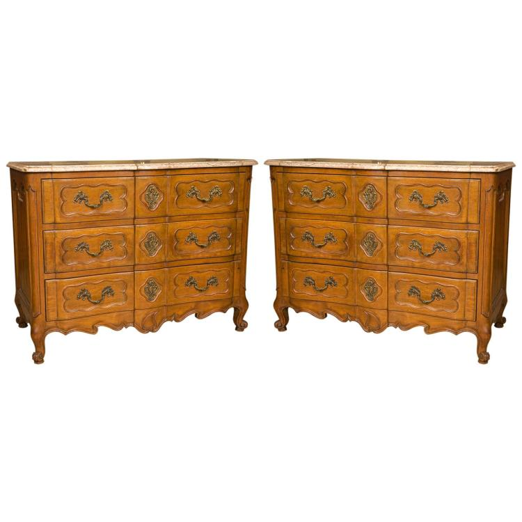 Pair of Marble-Top Louis XV Style Commodes Attributed to Maison Jansen