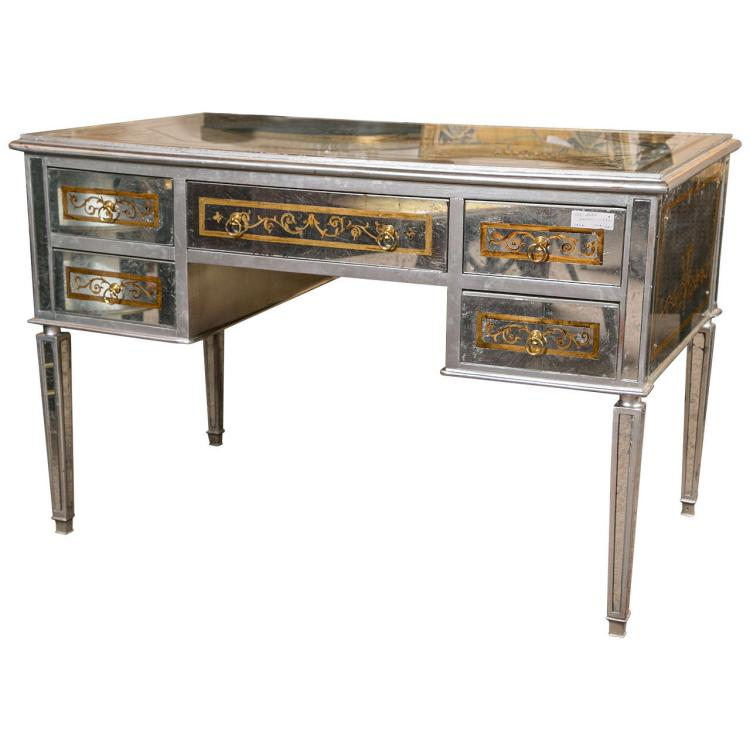 Maison Jansen Verre ?glomis? French Mirrored Desk or Vanity