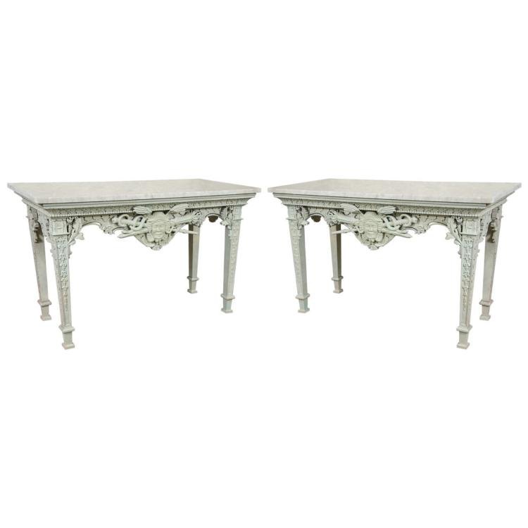 Pair of Monumental French Painted Marble-Top Console Tables
