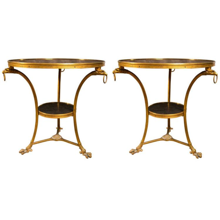 Pair of Empire Style Marble Top Gueridons