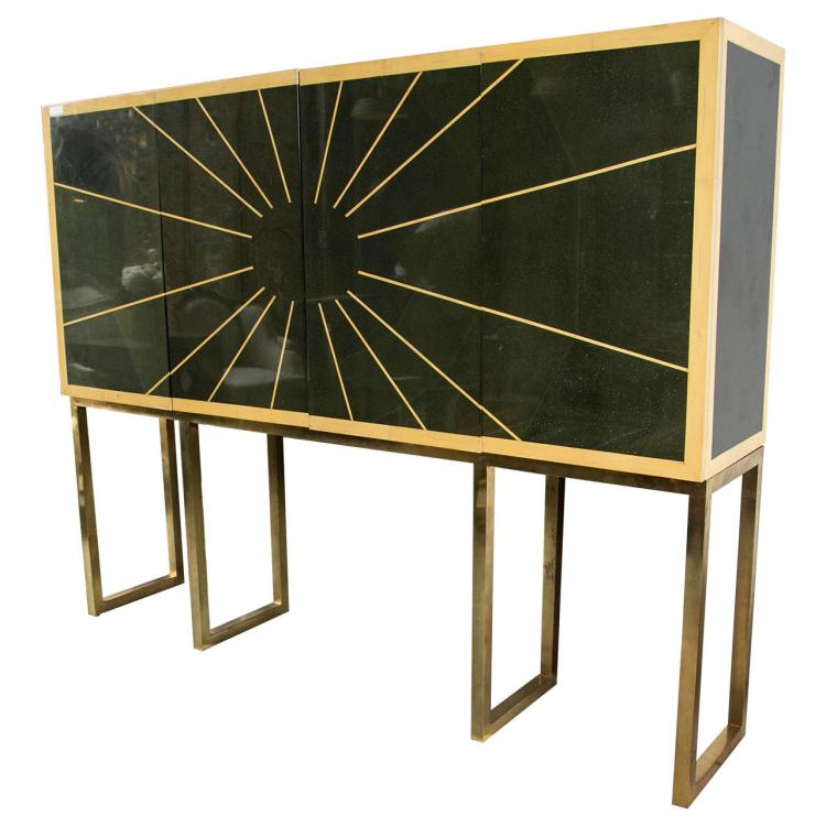 Karl Springer Style Cabinet on Bronze Stand