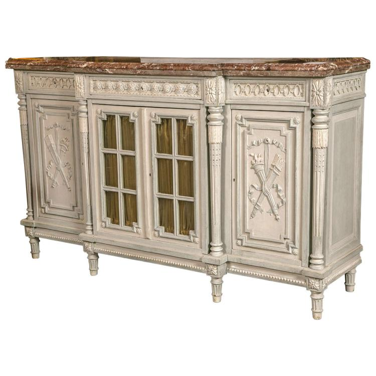 19th Century French Paint Decorated Marble-Top Sideboard Buffet