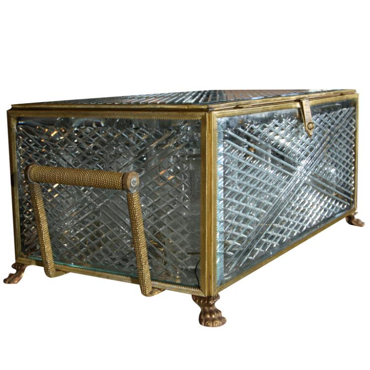 19th Century Antique Liquor Casket Attrib. to Baccarat
