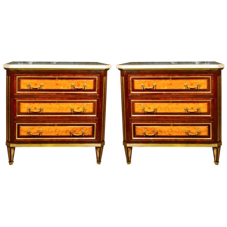 Pair of Russian Neoclassical Commodes Night Stands