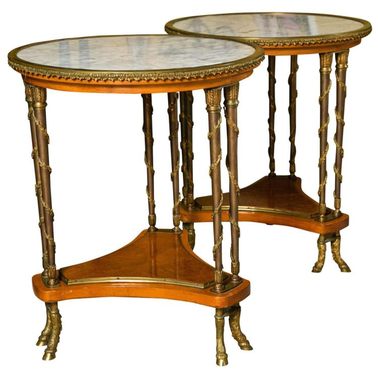 Pair of Exceptional French Empire Style Side Tables