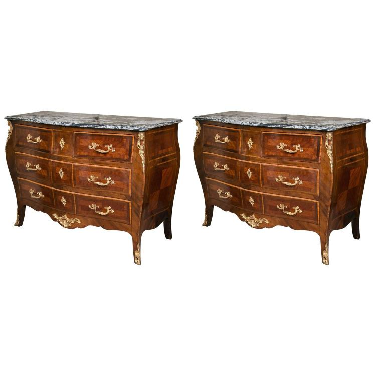 Pair of Late 19th Early 20th Century Marble Top Commodes