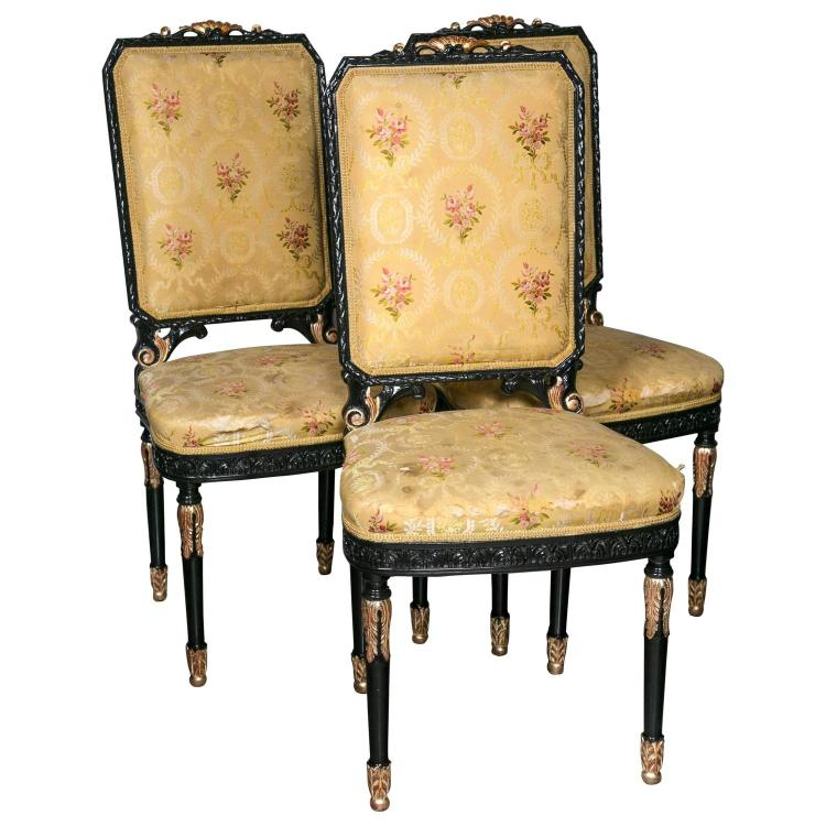 Set of Ten Ebonized and Gilt Decorated Dining Chairs by Maison Jansen