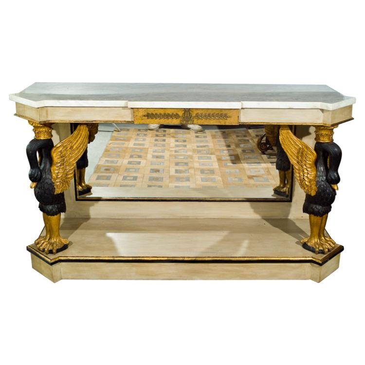 French Marble Top Console with Gilt Carved Swans