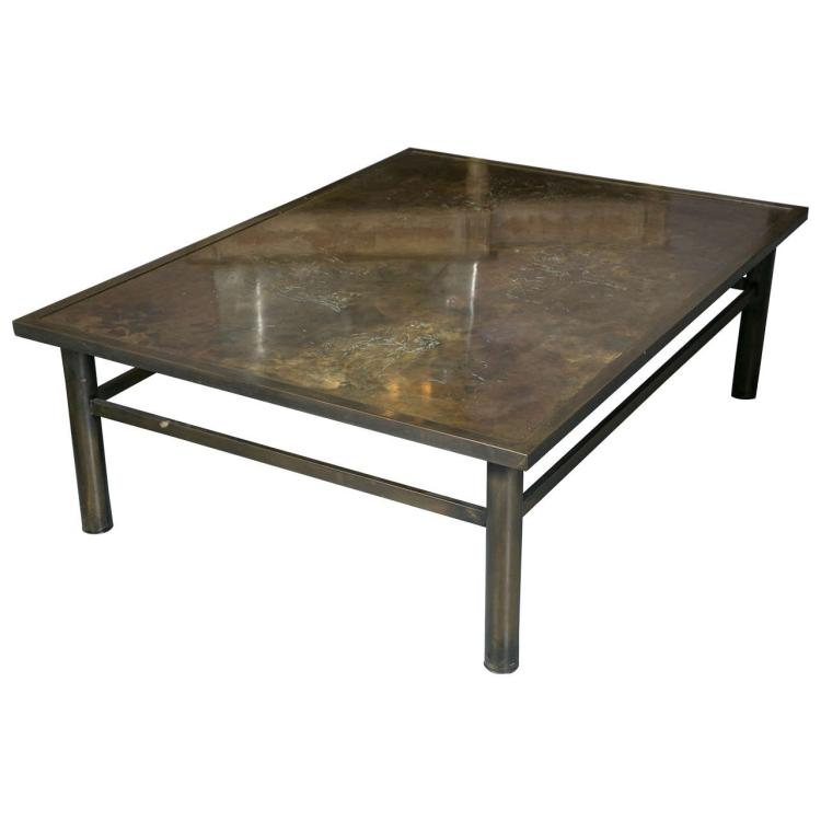 Philip & Kelvin LaVerne Acid Etched Bronze Zodiac Coffee Table