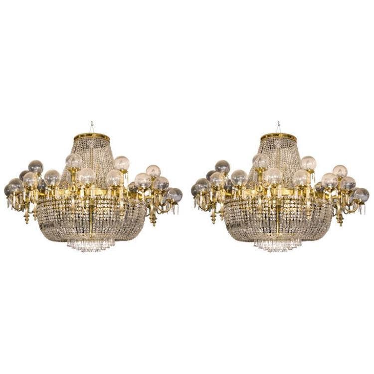 Pair of Crystal and Brass Palace sized Chandeliers