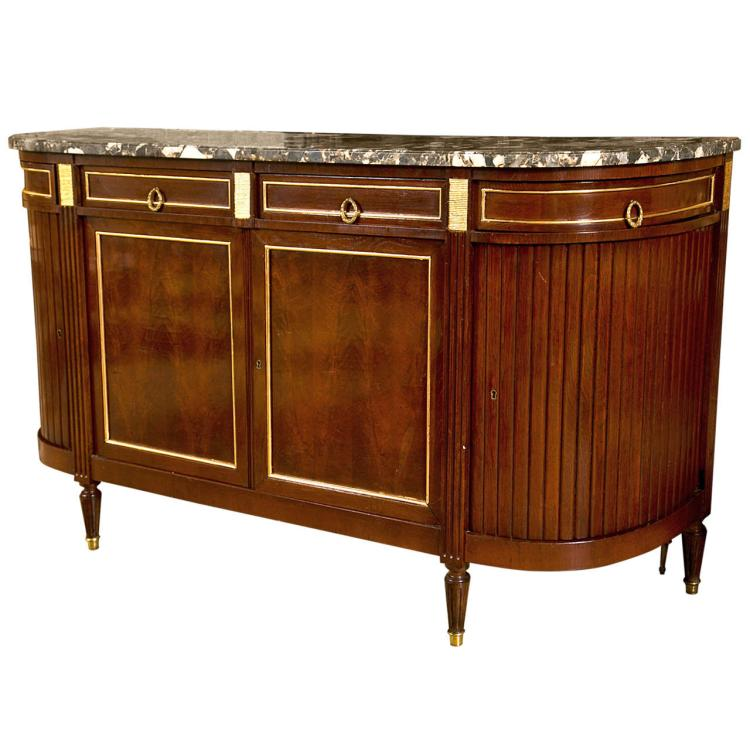 French Mahogany Marble Top Sideboard