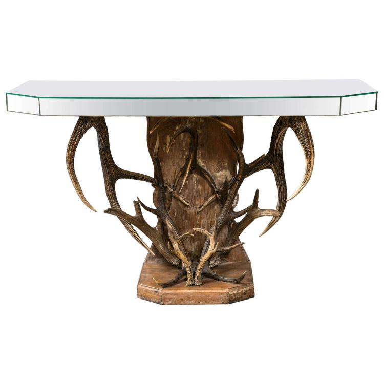 Antler and Mirror Decorated Console Table