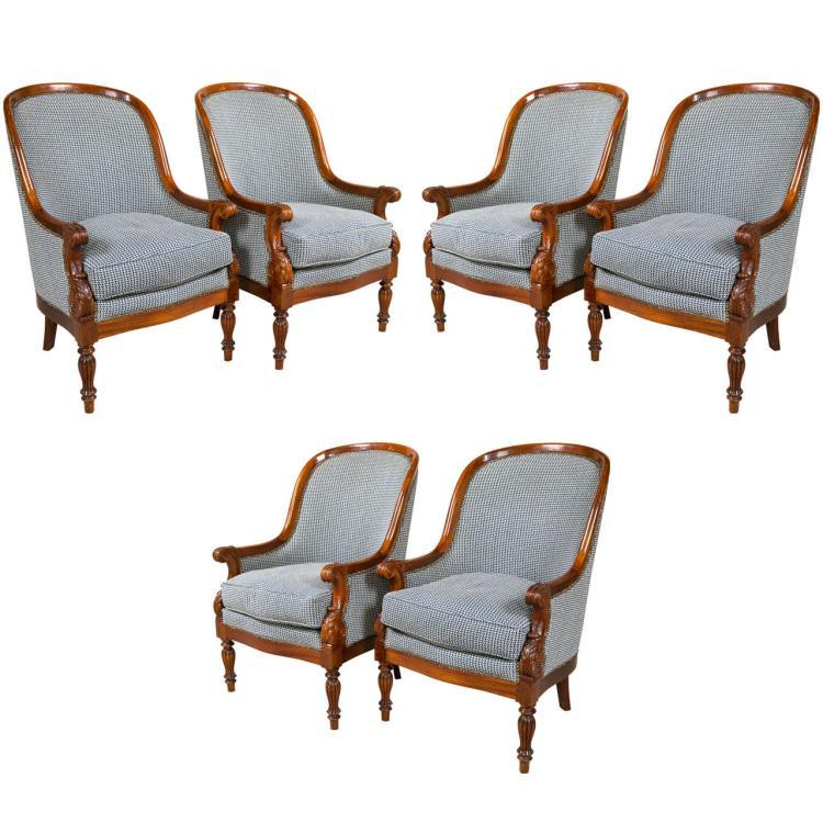Set of Six Mahogany Empire Style Armchairs attrib Jansen